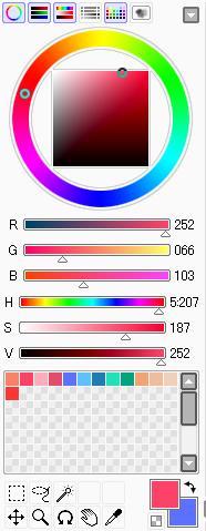 カラーサークル、RGB、HSVスライダ
