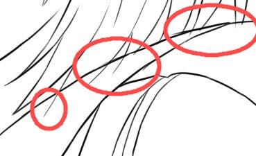髪の線が服にはみでています